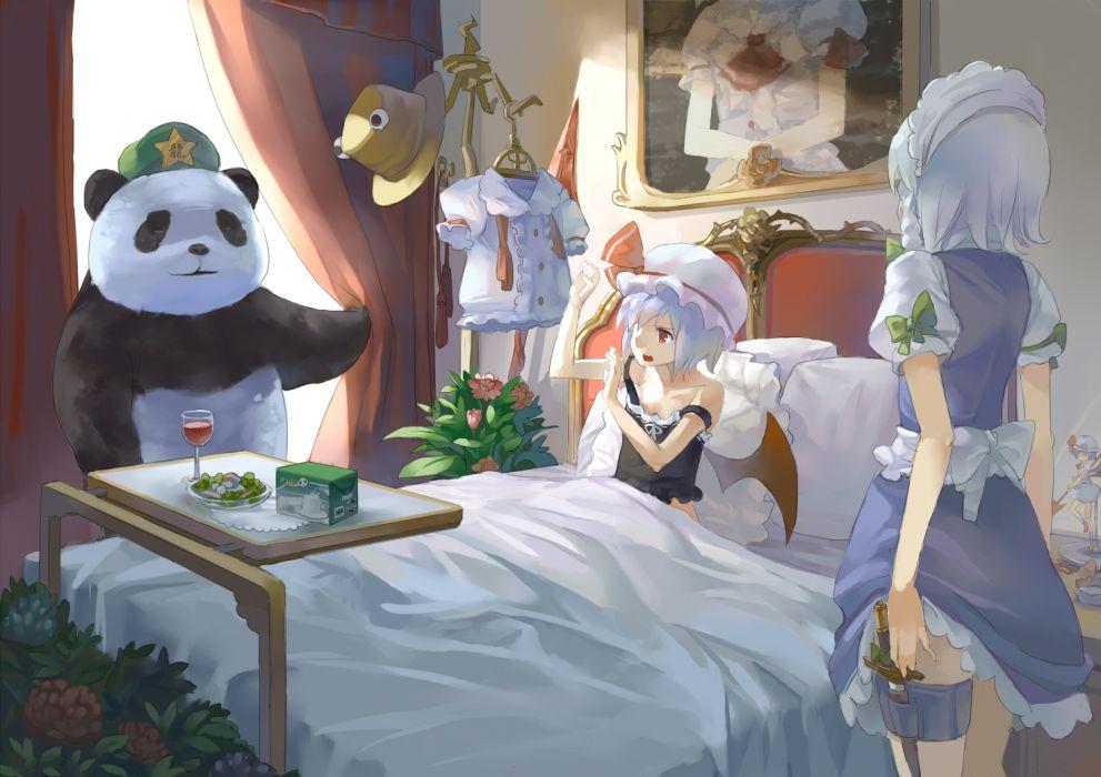 77gl dress hat hong meiling izayoi sakuya panda red eyes remilia scarlet touhou wings wallpaper