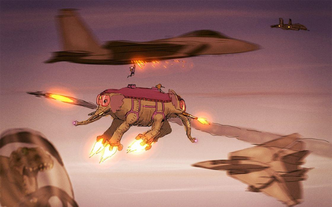 Adventure Time Jets Elephant sci-fi elephant jets aircraft steampunk wallpaper