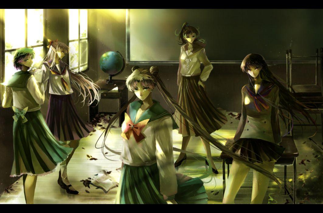 aino minako bow hino rei kino makoto long hair mizuno ami nako (nonrain) sailor moon seifuku tsukino usagi twintails wallpaper