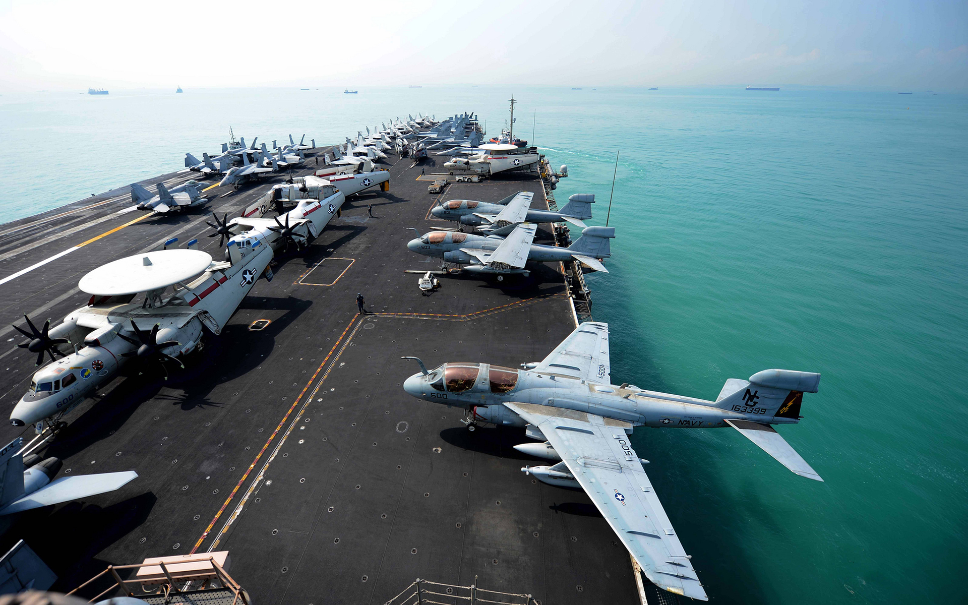 Aircraft Carrier Jet Deck Ocean Ship aircraft airplane ...