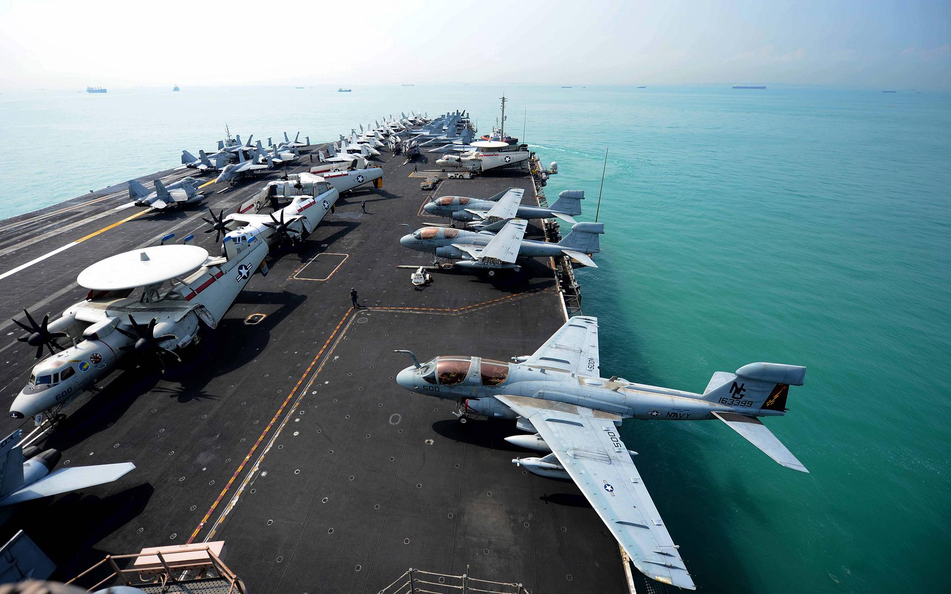 Aircraft Carrier Jet Deck Ocean Ship aircraft airplane ...