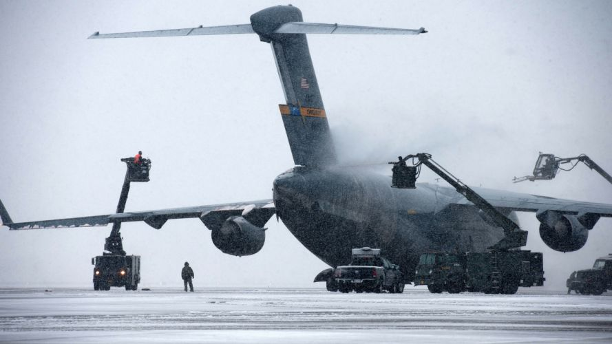 Airplane Plane Snow Winter military wallpaper