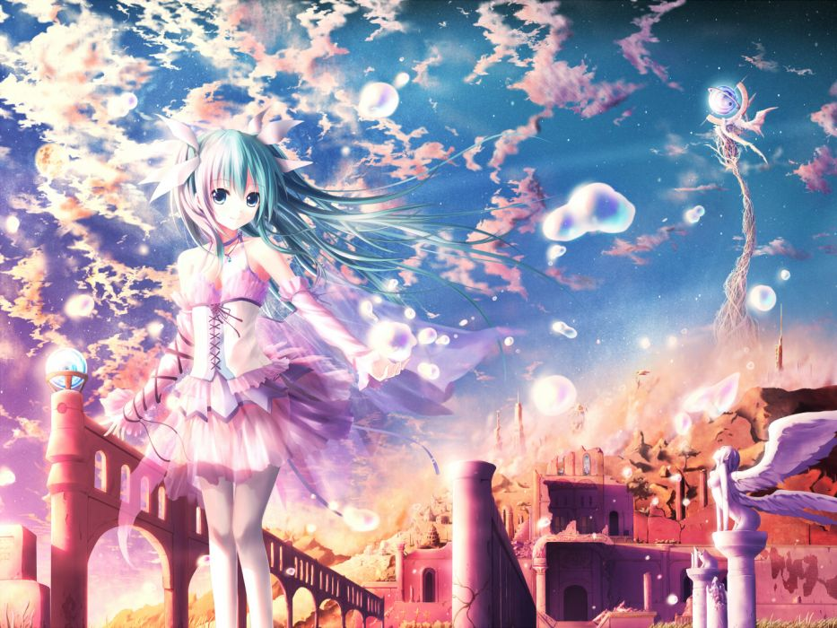 akkijin angel aqua eyes aqua hair clouds corset dress hatsune miku long hair moon necklace ribbons see through sky stars thighhighs vocaloid wings wallpaper