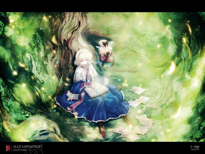 alice margatroid blonde hair book dress hourai ribbons short hair sleeping tokiame touhou wings wallpaper
