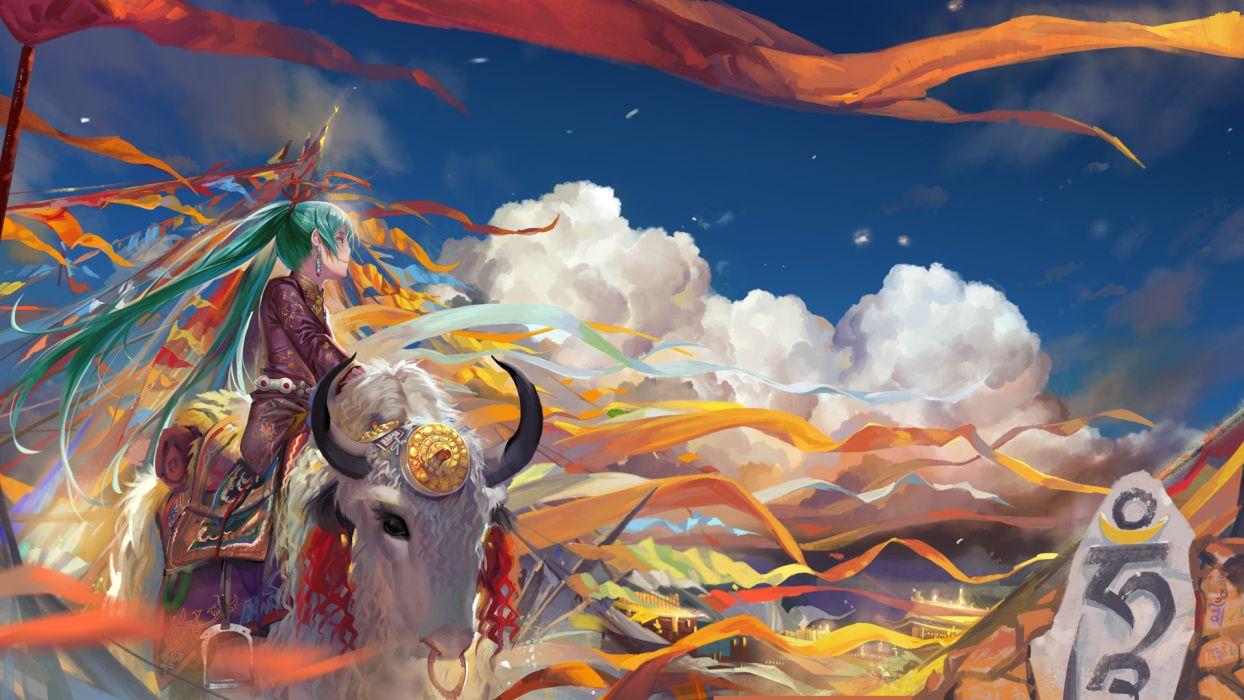 alphonse animal aqua eyes aqua hair clouds hatsune miku long hair ribbons sky twintails vocaloid wallpaper