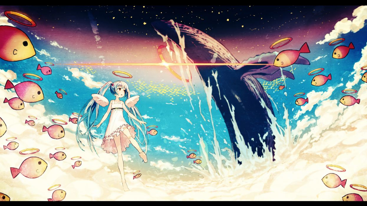 angel animal asgr barefoot clouds dress fish halo hatsune miku sky vocaloid wings wallpaper