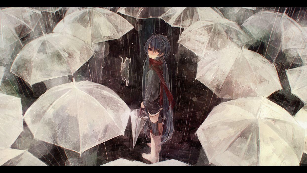 animal boots cat gabaisuito-n hatsune miku long hair rain scarf shorts thighhighs twintails umbrella vocaloid wallpaper