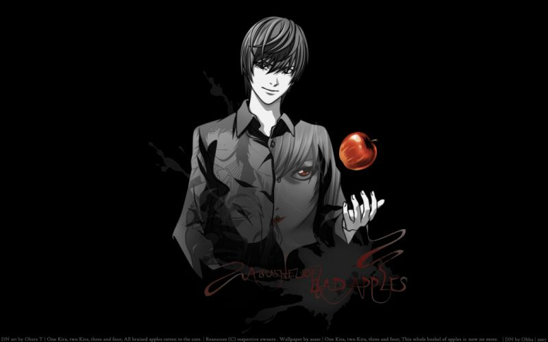 apple death note photoshop red eyes yagami light wallpaper