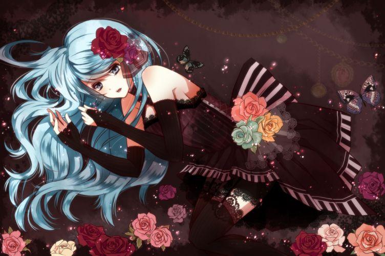 aqua eyes aqua hair butterfly dress flowers hatsune miku tsukumo vocaloid wallpaper
