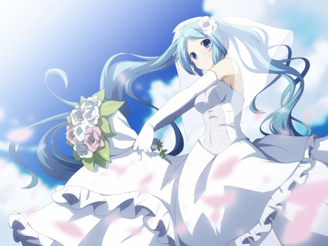 aqua eyes aqua hair dress elbow gloves flowers gloves hatsune miku long hair twintails vocaloid wedding dress yuzuki kei wallpaper