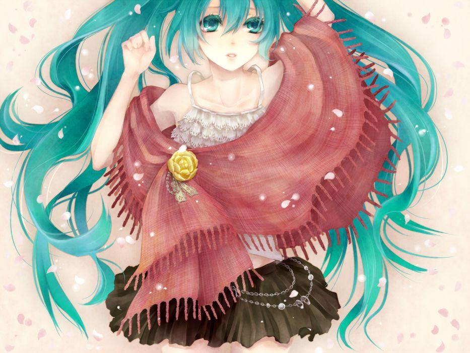 aqua eyes aqua hair hatsune miku long hair petals skirt vocaloid yamaneko514 wallpaper