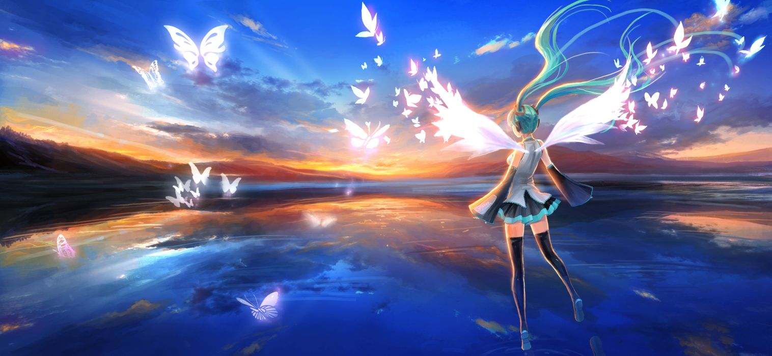 aqua hair butterfly clouds hatsune miku headphones long hair pcw skirt sky thighhighs twintails vocaloid wings wallpaper