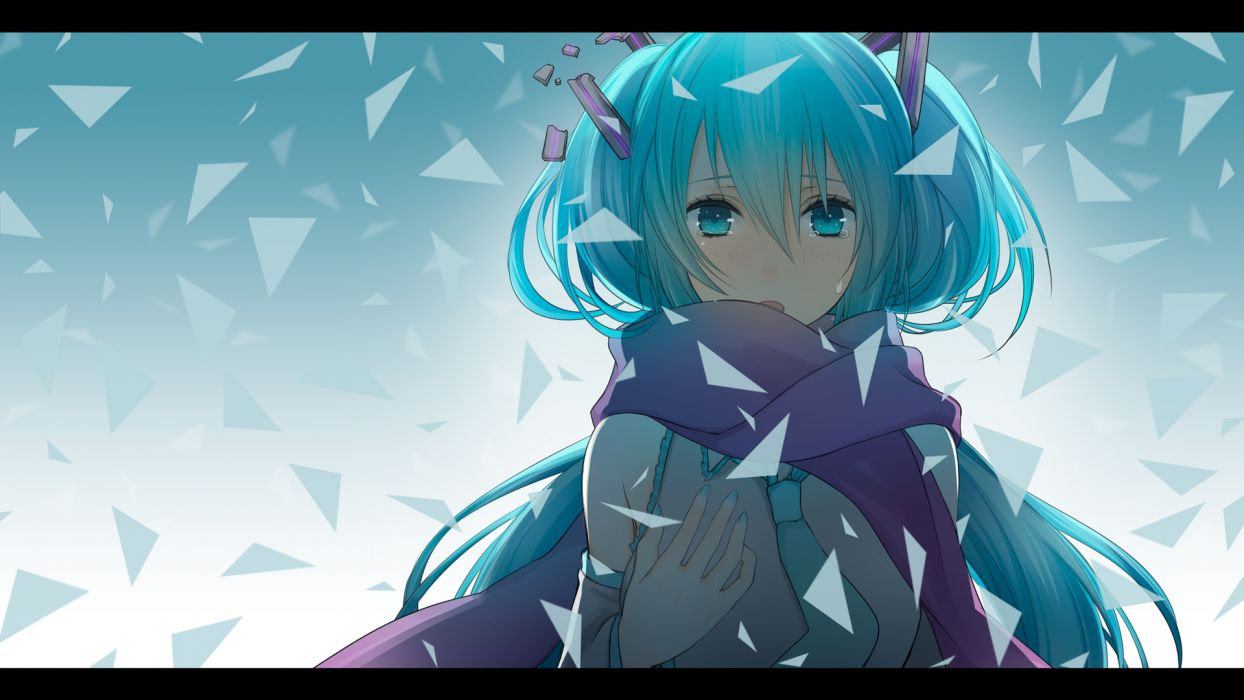 aqua hair close crying hatsune miku scarf tears vocaloid wogura wallpaper