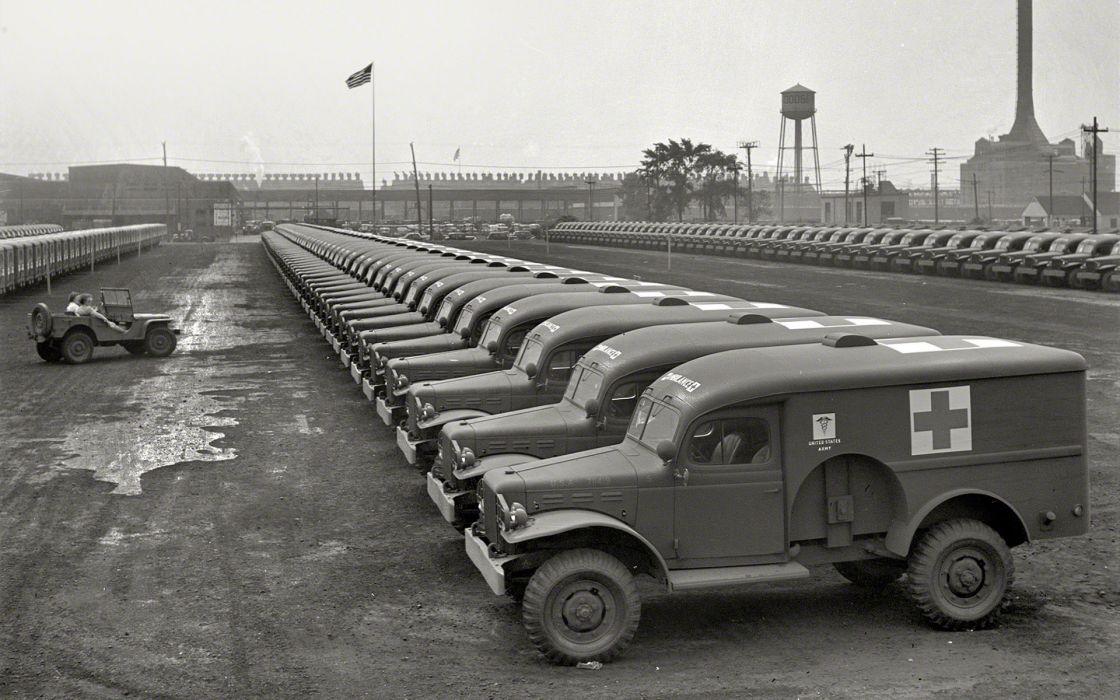 Army Jeep BW retro military ambulance trucks wallpaper