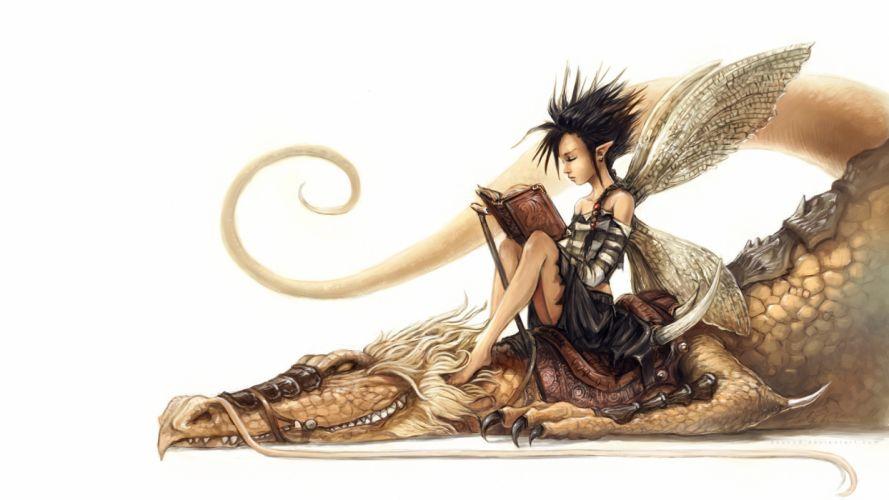 art white dragon lying down elf fairy ears book fairy wallpaper