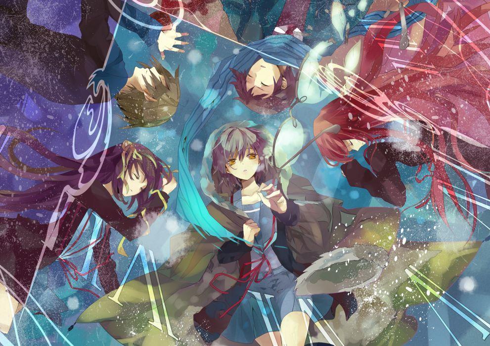 asahina mikuru kizuna koizumi itsuki kyon nagato yuki seifuku suzumiya haruhi suzumiya haruhi no yuutsu wallpaper