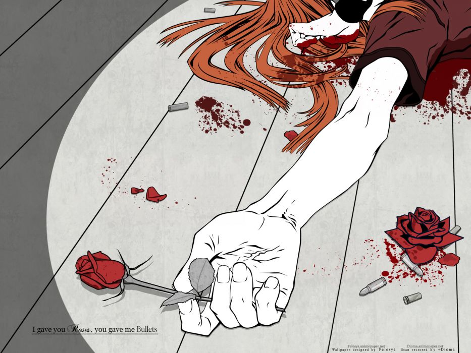 badou nails blood dogs bullets & carnage flowers miwa shirow rose wallpaper