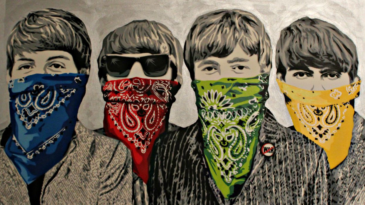Banksy The Beatles Bandanna Graffiti band group wallpaper