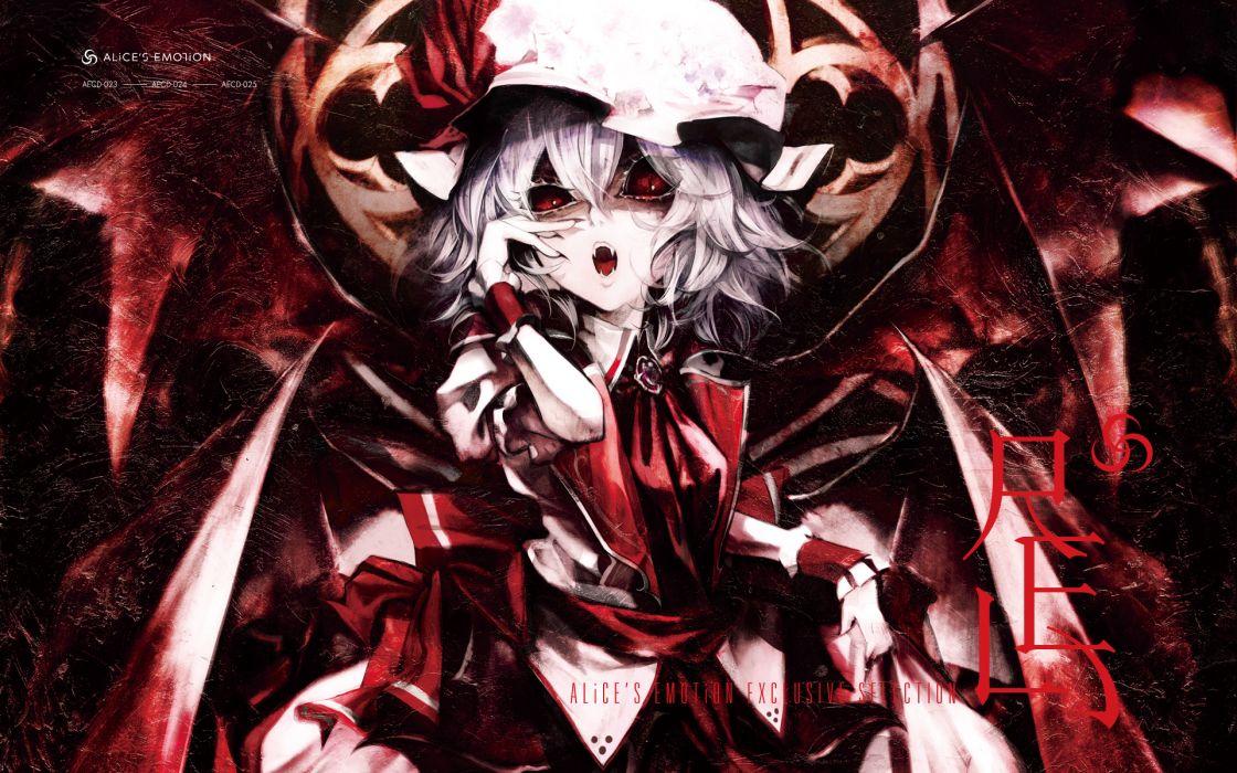 banpai akira dress fang hat red eyes remilia scarlet ribbons short hair touhou vampire white hair wallpaper