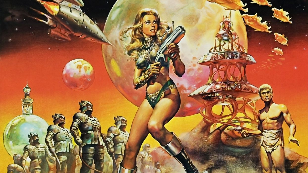 Barbarella Jane Fonda movies sci-fi futuristic warrior weapons guns laser women females blonde spaceship planet moon wallpaper