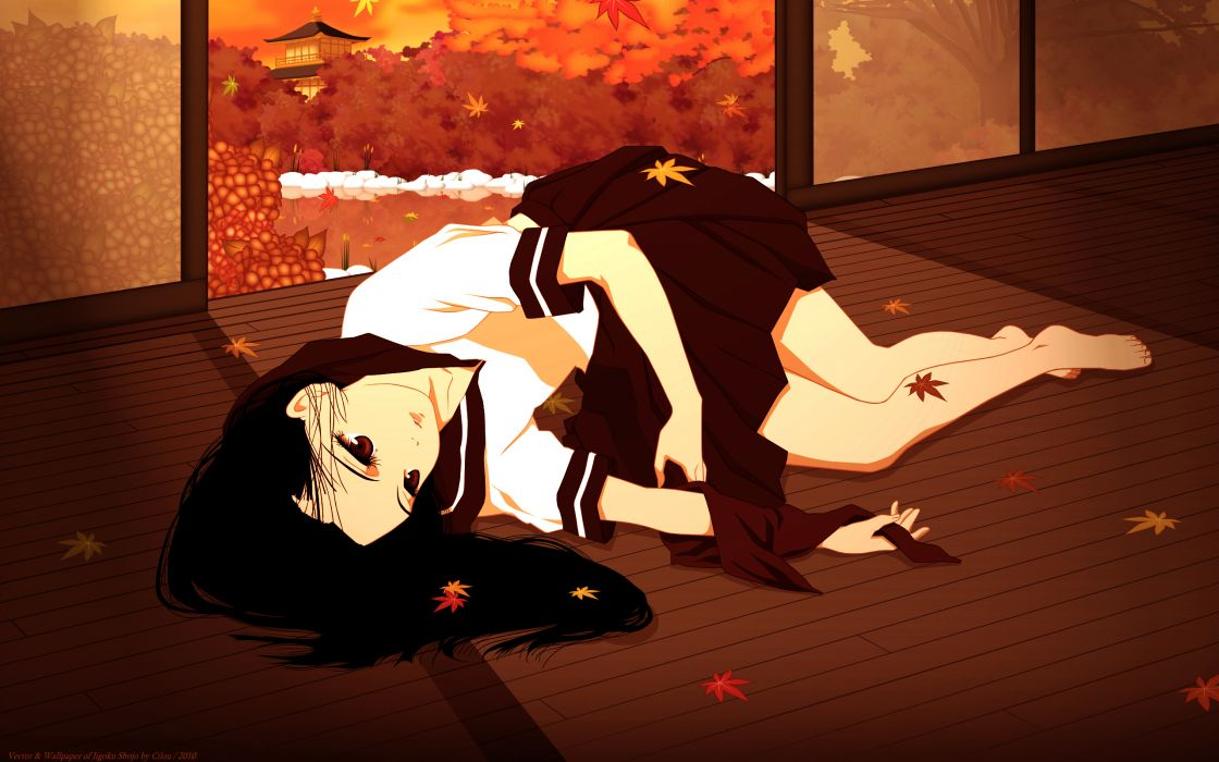 barefoot black hair enma ai etoo miyuki jigoku shoujo red eyes seifuku wallpaper