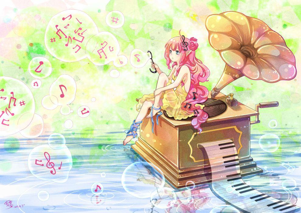 barefoot blue eyes bubbles dress elf instrument long hair moxue qianxi music original piano pink hair ribbons signed water wallpaper