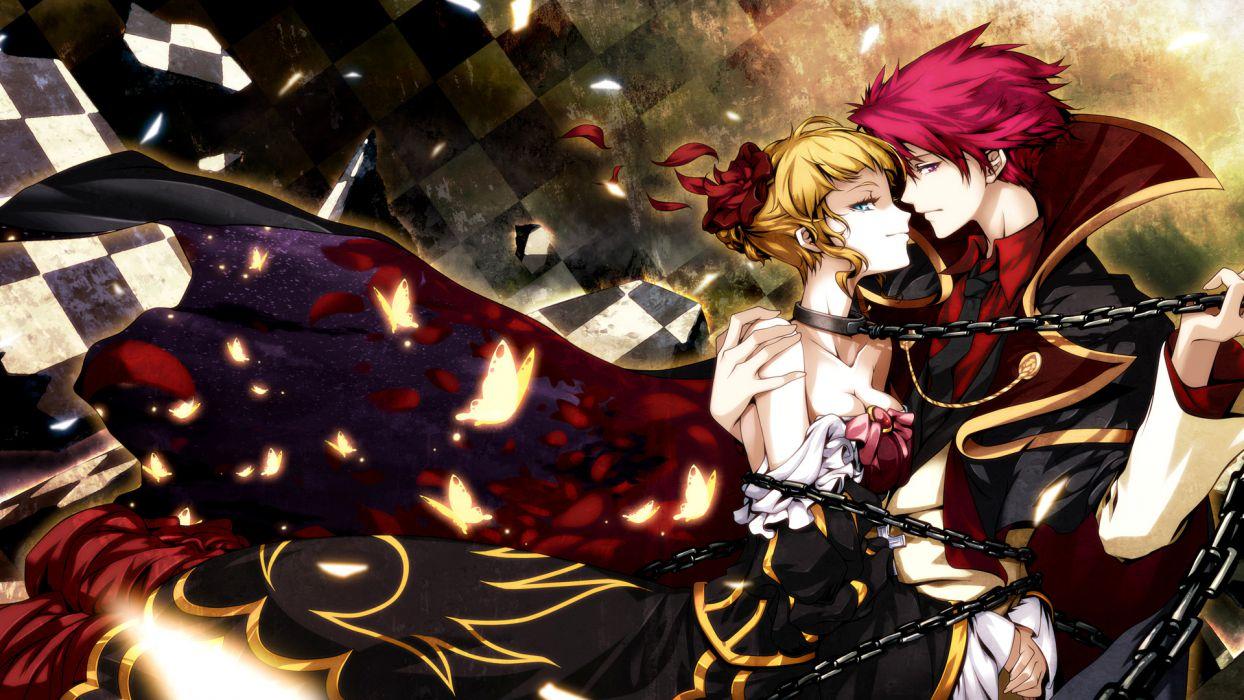 beatrice blonde hair butterfly chain dress hong (white spider) red hair umineko no naku koro ni ushiromiya battler wallpaper