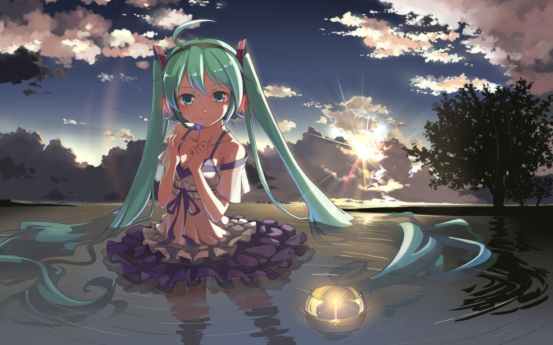 beek clouds dress hatsune miku sky tree vocaloid water wet wallpaper