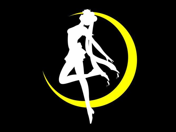 black logo moon sailor moon silhouette tsukino usagi wallpaper