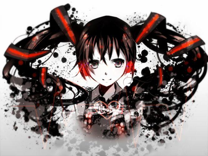 black eyes black hair close hatsune miku heart nisoku hokou (vocaloid) nou polychromatic vocaloid wallpaper