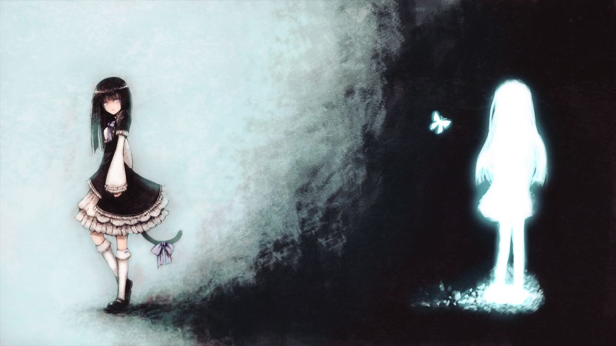black hair blackball butterfly dress frederica bernkastel purple eyes ribbons silhouette tail umineko no naku koro ni wallpaper