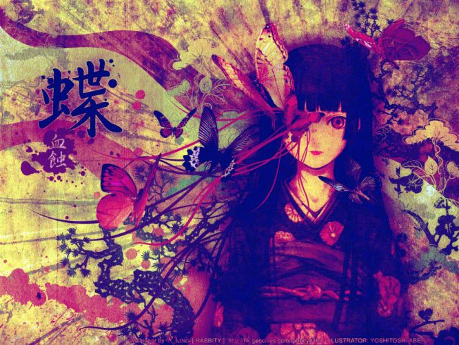 Black Hair Blood Butterfly Enma Ai Flowers Japanese