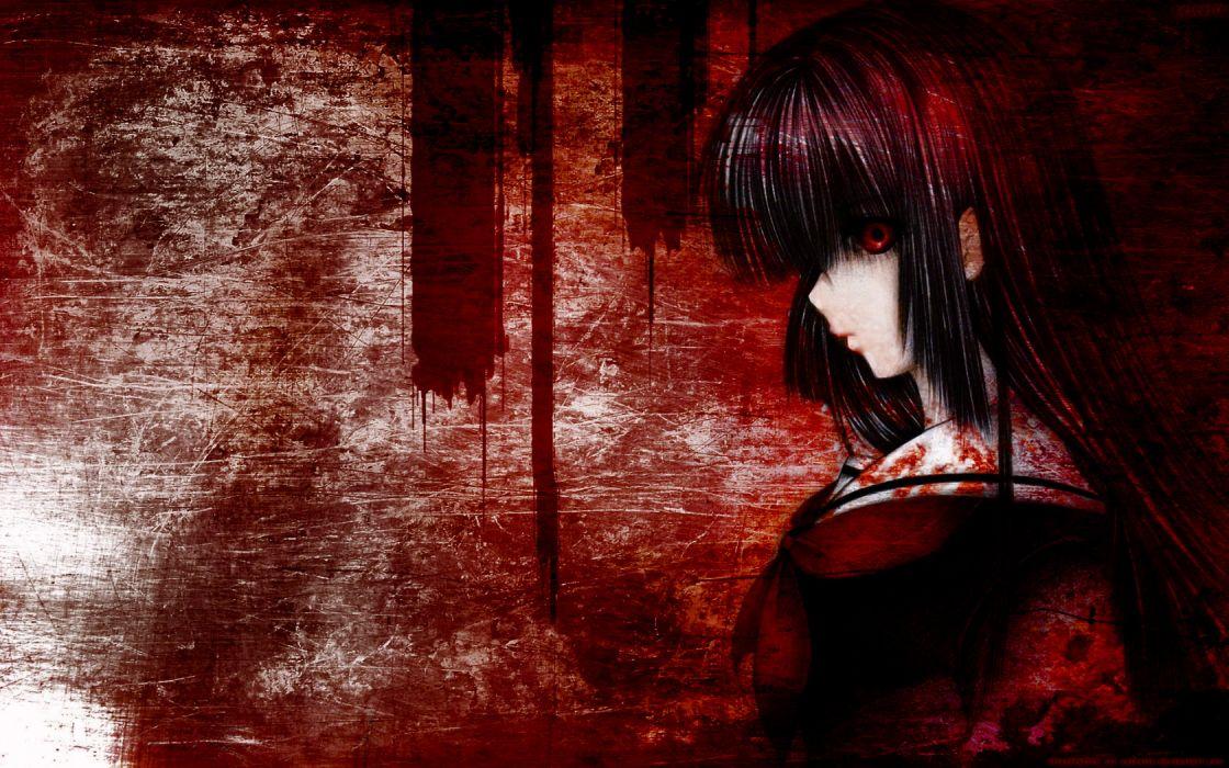 black hair blood enma ai jigoku shoujo long hair polychromatic red eyes wallpaper