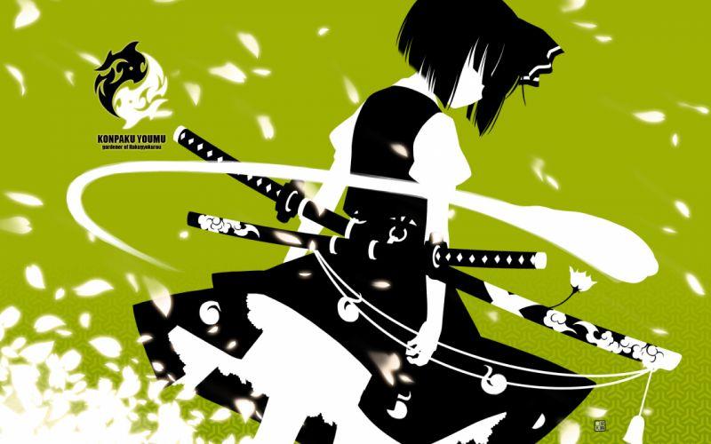 black hair green katana konpaku youmu kurasawa kyoushou myon short hair skirt sword touhou weapon wallpaper