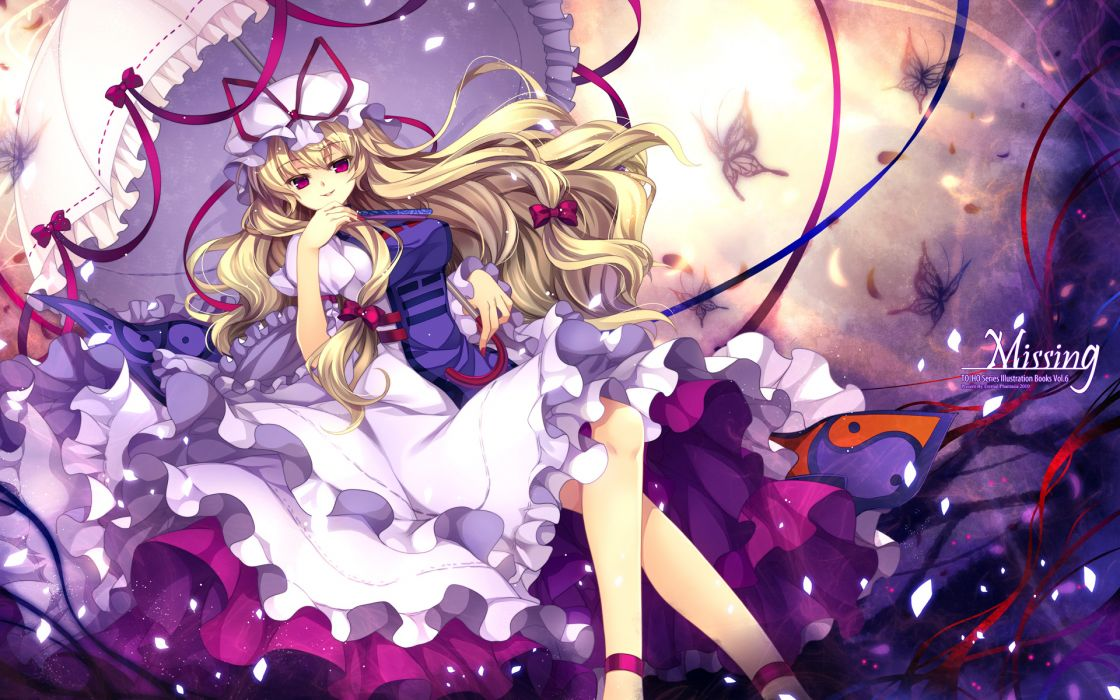 blonde hair capura lin dress hat long hair red eyes touhou umbrella yakumo yukari wallpaper