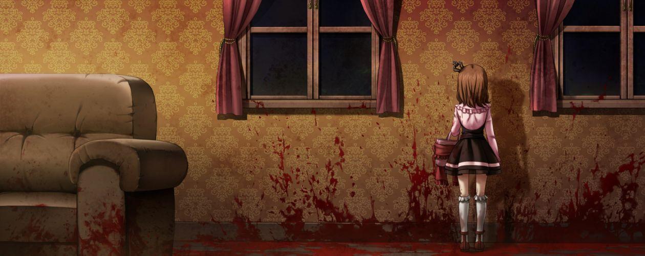 blood brown hair dress game cg short hair umineko no naku koro ni ushiromiya maria wallpaper
