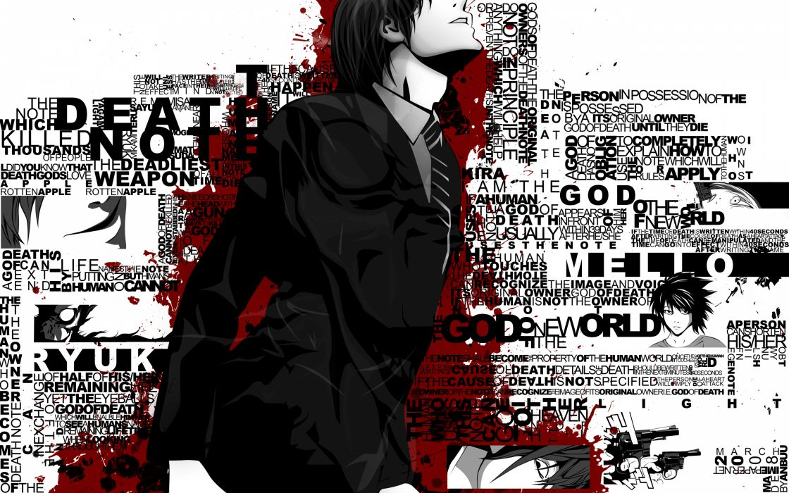 blood death note gun l polychromatic ryuk weapon yagami light wallpaper