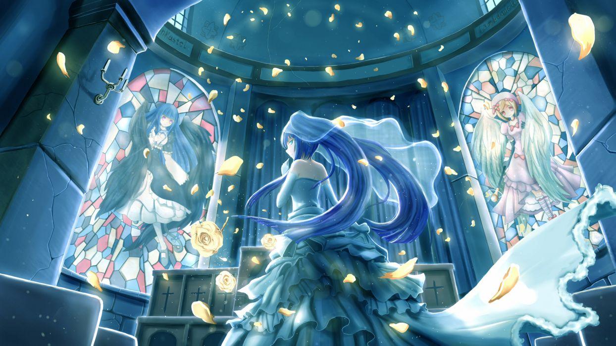 blue eyes blue hair dress flowers frederica bernkastel furudo erika lambdadelta night petals umineko no naku koro ni zen (weishanzhe) wallpaper