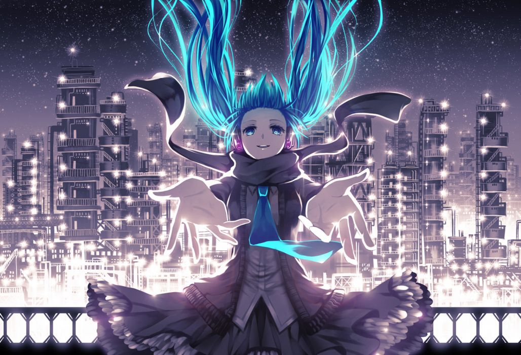blue eyes blue hair dress hatsune miku headphones mirusa night tie twintails vocaloid wallpaper