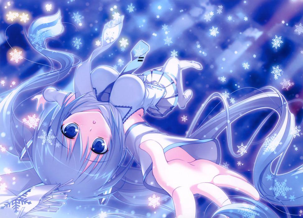 blue eyes blue hair hatsune miku long hair mikeou pink chuchu scarf snow thighhighs tie twintails vocaloid winter yuki miku wallpaper