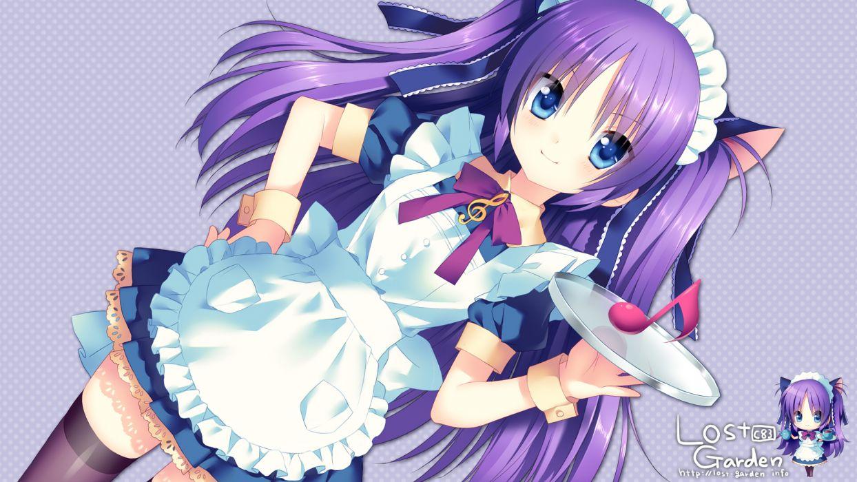 blue eyes blush chibi dress little busters! long hair maid purple hair ribbons sakura neko sasasegawa sasami stockings wallpaper