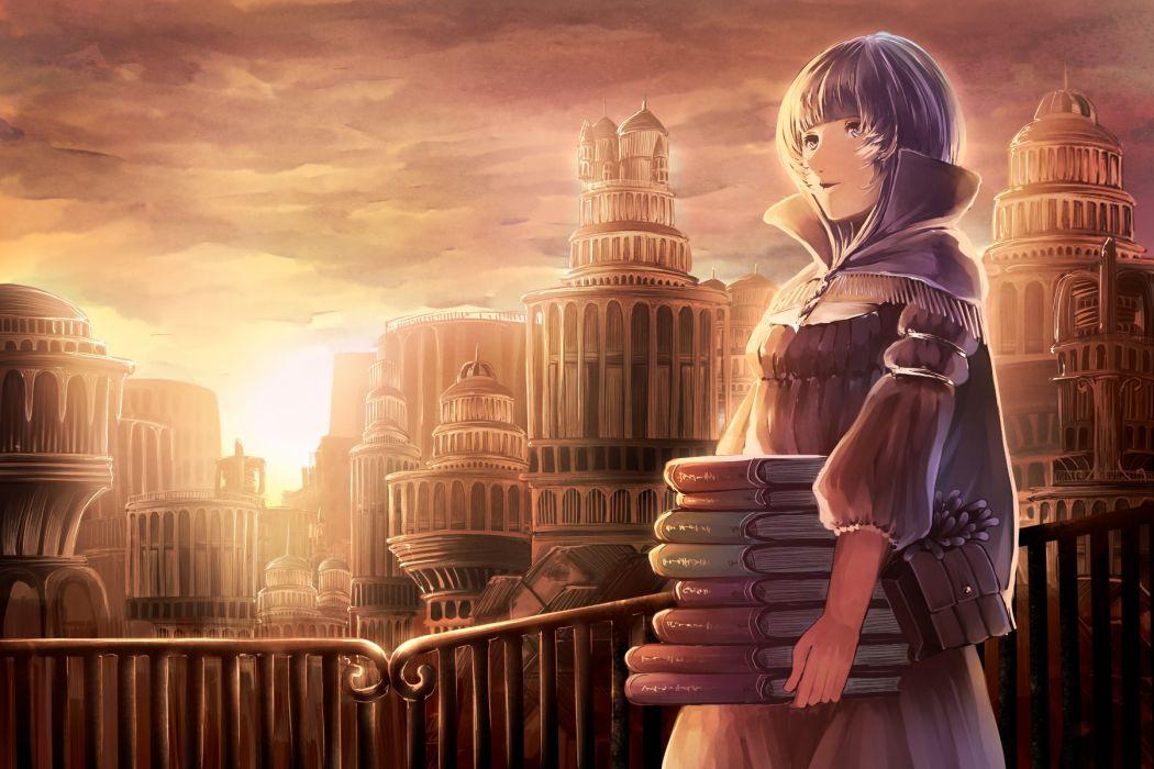 book city hakura kusa original sunset wallpaper