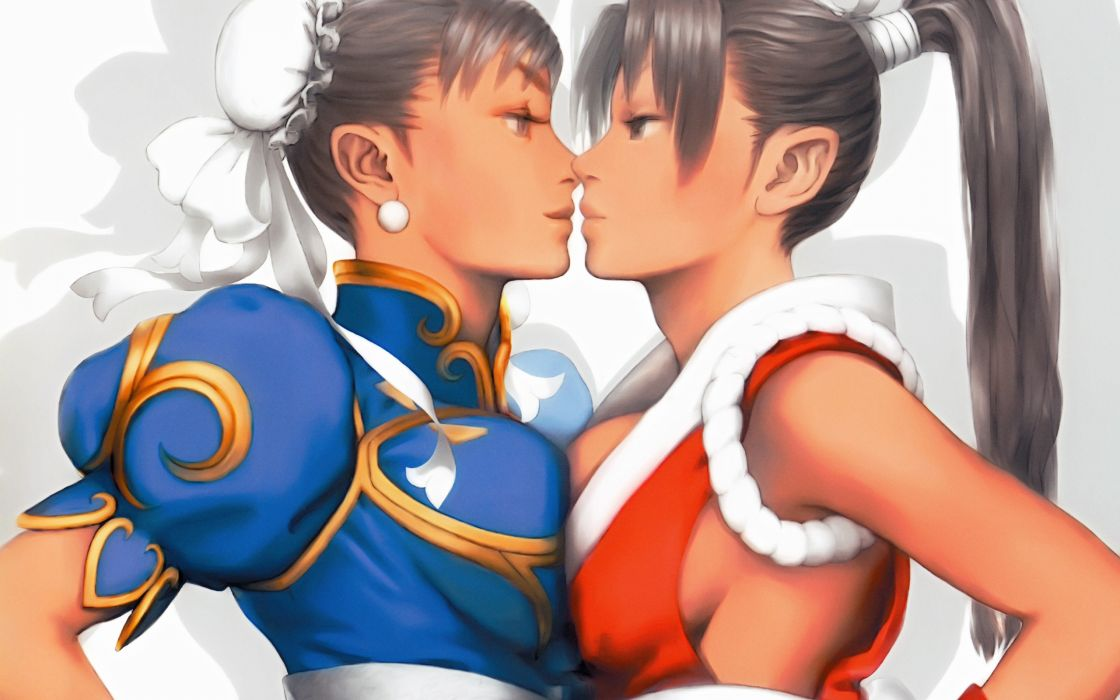 brown hair chun-li shiranui mai street fighter yuri wallpaper