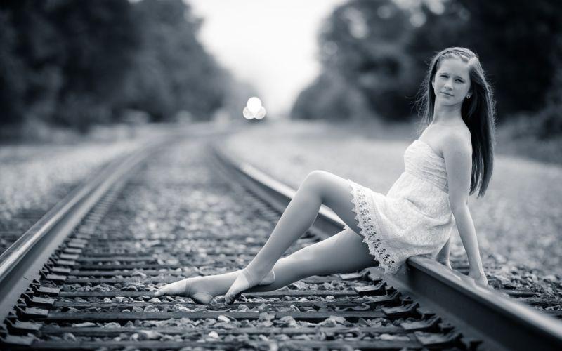 brunette girls females women woman railway railroad tracks train mood black white wallpaper