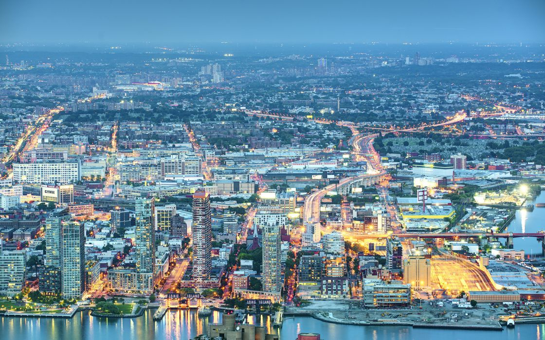 buildings  roads  night  lights  USA New York Long Island cities wallpaper