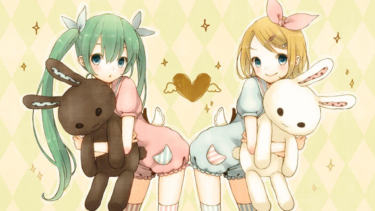 bunny hatsune miku kagamine rin loli vocaloid wallpaper