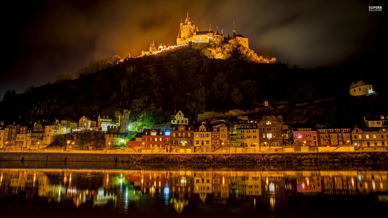 Castle Night Buildings rivers reflection buildings night lights wallpaper