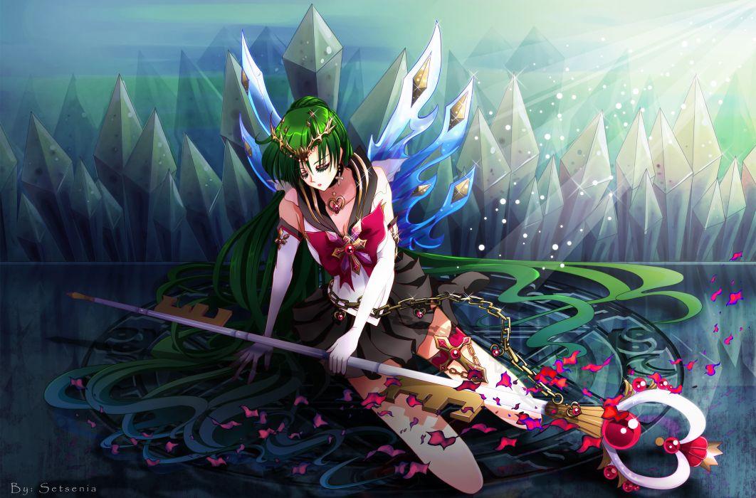 chain green hair long hair meiou setsuna sailor moon staff wallpaper