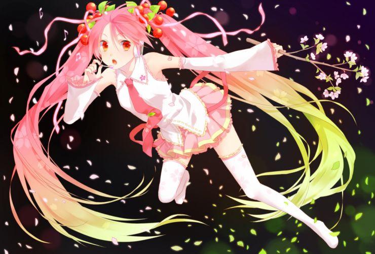 cherry blossoms hatsune miku okitune-sama sakura miku skirt thighhighs vocaloid wallpaper