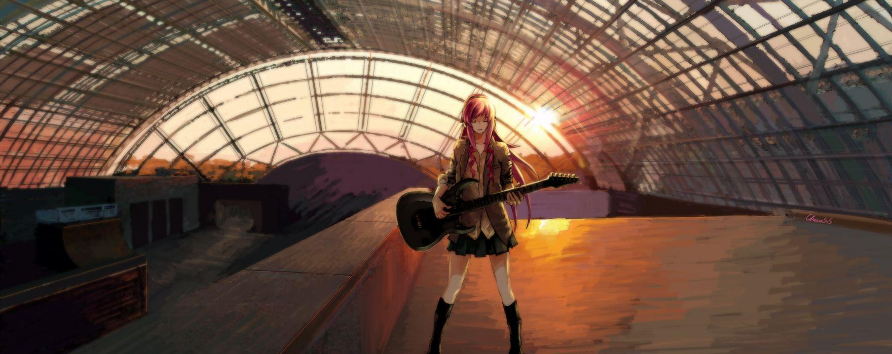 chevasis guitar headphones instrument long hair megurine luka pink hair skirt sunset vocaloid wallpaper